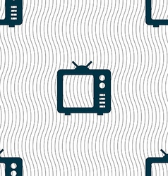 Old TV Television icon sign Seamless pattern with vector