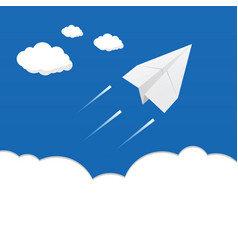 Paper airplane above the clouds vector