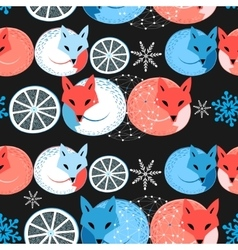 Pattern funny fox vector image
