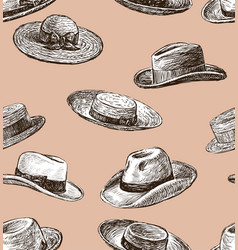pattern of the male and female hats vector image