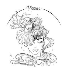 Pisces as a girl in hat vector