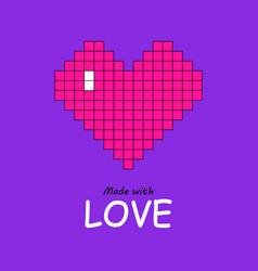 pixel art heart in plastic pink on proton purple vector image