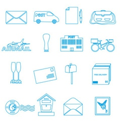 post and mail blue outline icons set eps10 vector image