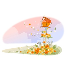 Postbox over floral landscape vector image