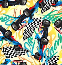 Racing with checkered flag seamless pattern vector image