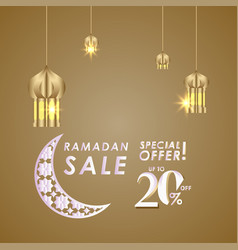 Ramadan sale up to 20 off special offer template vector