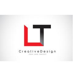 Red and black lt l t letter logo design creative vector