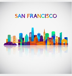 san francisco skyline silhouette in colorful vector image