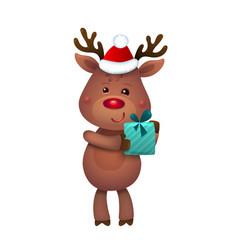 santas reindeer rudolph of vector image