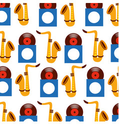 saxophone and vinyl seamless pattern image vector image