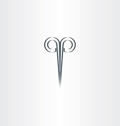 Scissors hair salon stylized black logo vector
