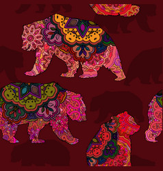 Seamless decorative pattern with bear vector