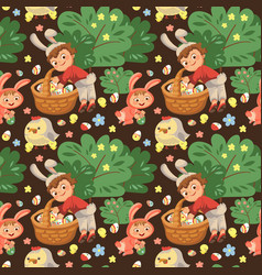 seamless pattern boy smile hunting decorative vector image