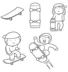 set of man play skateboard vector image