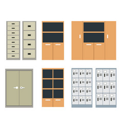 Set of office cabinet and locker in flat style vector