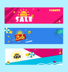 set sale banner template design with summer sun vector image