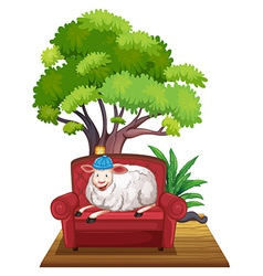 Sheep on sofa vector image