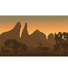 Silhouette of parasaurolophus in fields vector image