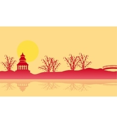 Silhouette of pavilion and reflection scenery vector