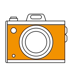 Sketch color silhouette analog camera with flash vector