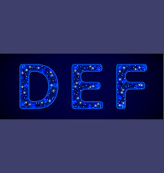 snowy font shiny letters on blue background for vector image