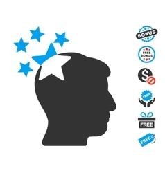 Stars Hit Head Icon With Free Bonus vector image