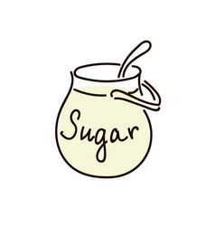 sugar bowl with spoon on white background vector image