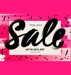 summer sale banner template pink background vector image