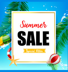 summer sale titile on white rectangle over vector image