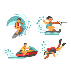 Summer water healthy activities poster on vector