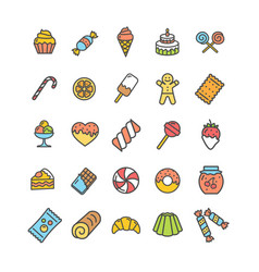 Sweets and bakery icon thin line set vector