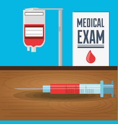 Syringe and blood donation with medical exam vector