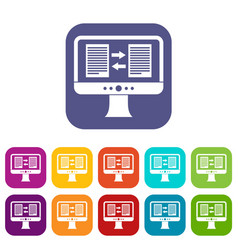 translator app on the screen of computer icons set vector image