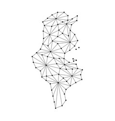 tunisia map of polygonal mosaic lines network ray vector image