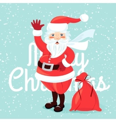 waving santa claus with sack full presetns flat vector image