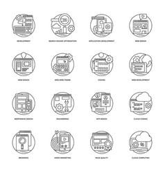 web development line icons 1 vector image