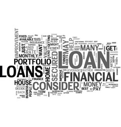 What loan to get text word cloud concept vector