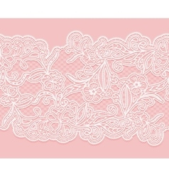 White seamless lace pattern on a pink background vector image