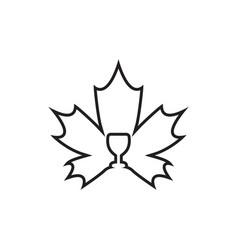 Wine glass maple leaf lines design concept vector