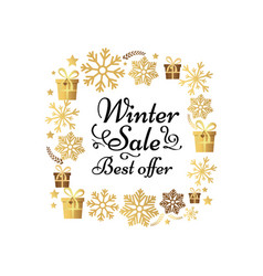 Winter sale best offer poster made of snowflakes vector