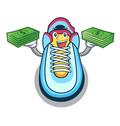with money cartoon sneaker with rubber toe vector image