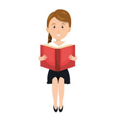 Woman reading textbook character vector
