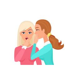 woman whispering gossip surprised says rumors vector image