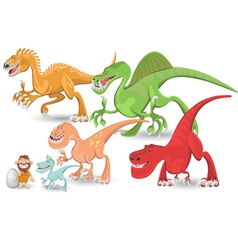 Carnivorous dinosaurs collection set vector