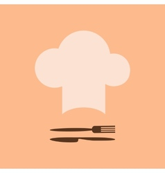 Chef hat and fork with knife vector image