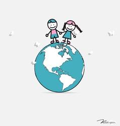 Cute children on globe vector
