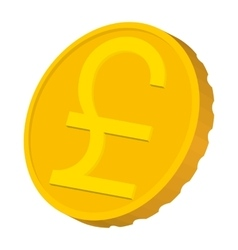 Gold coin with Pound sign icon cartoon style vector image vector image