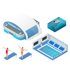 Isometric set of modern building swimming vector
