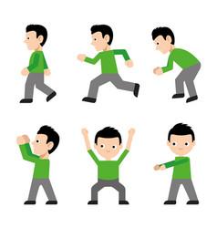 man walk run jump action character cartoon vector image