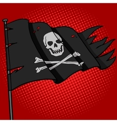 Pirate flag pop art style vector